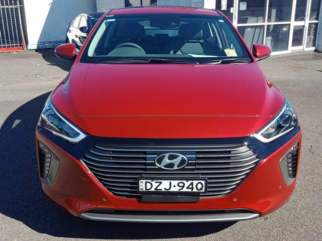 Demo Hyundai Ioniq AE.2 MY19 hybrid DCT Premium, 2018 Hyundai Ioniq AE.2 MY19 hybrid DCT Premium Fiery Red 6 Speed Sports Automatic Dual Clutch