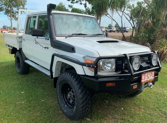 Used Toyota Landcruiser VDJ79R MY13 Workmate Double Cab, 2013 Toyota Landcruiser VDJ79R MY13 Workmate Double Cab White 5 Speed Manual Cab Chassis