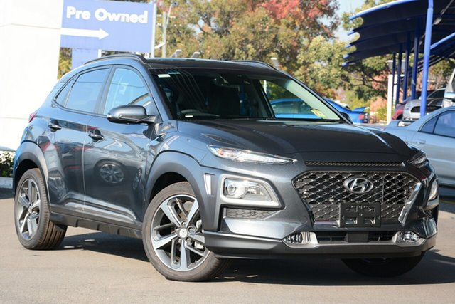 New Hyundai Kona OS.2 MY19 Highlander 2WD, 2018 Hyundai Kona OS.2 MY19 Highlander 2WD Dark Knight 6 Speed Sports Aut Wagon