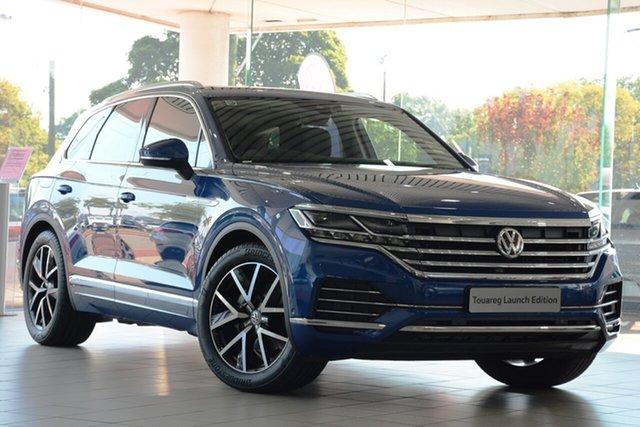 Demo Volkswagen Touareg CR MY19 190TDI Tiptronic 4MOTION Launch Edition, 2019 Volkswagen Touareg CR MY19 190TDI Tiptronic 4MOTION Launch Edition Reef Blue Metallic 8 Speed