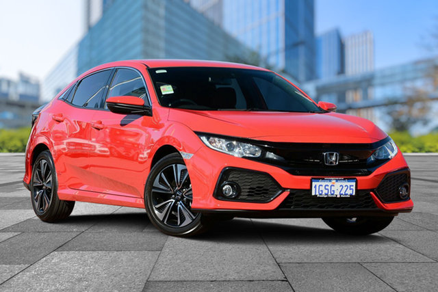 Demo Honda Civic 10th Gen MY18 VTi-L, 2018 Honda Civic 10th Gen MY18 VTi-L Rallye Red 1 Speed Constant Variable Hatchback