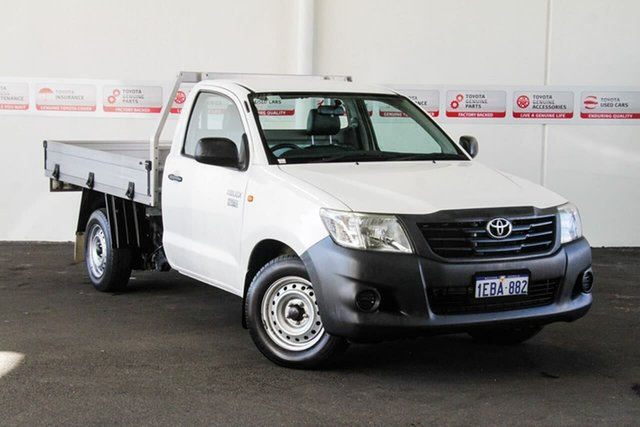 Used Toyota Hilux TGN16R MY12 Workmate 4x2, 2012 Toyota Hilux TGN16R MY12 Workmate 4x2 Glacier White 4 Speed Automatic Cab Chassis