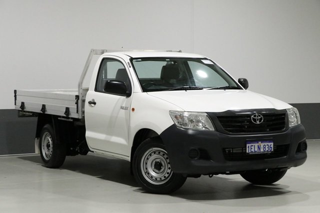 Used Toyota Hilux TGN16R MY12 Workmate, 2014 Toyota Hilux TGN16R MY12 Workmate White 5 Speed Manual Cab Chassis