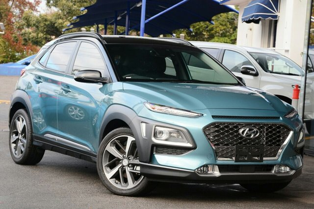 New Hyundai Kona OS.2 MY19 Highlander 2WD, 2019 Hyundai Kona OS.2 MY19 Highlander 2WD Blue Lagoon & Black Roof 6 Speed Sports Automatic Wagon