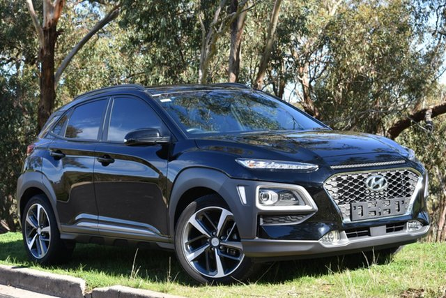 Used Hyundai Kona OS MY18 Highlander 2WD, 2017 Hyundai Kona OS MY18 Highlander 2WD Black 6 Speed Sports Automatic Wagon