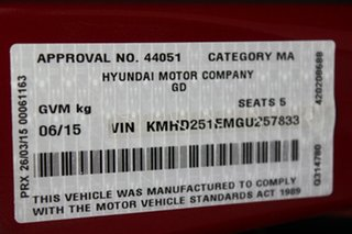 2015 Hyundai i30 GD3 Series II MY16 Active Red 6 Speed Sports Automatic Hatchback