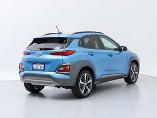 2018 Hyundai Kona OS Highlander (AWD) Blue Lagoon 7 Speed Auto Dual Clutch Wagon