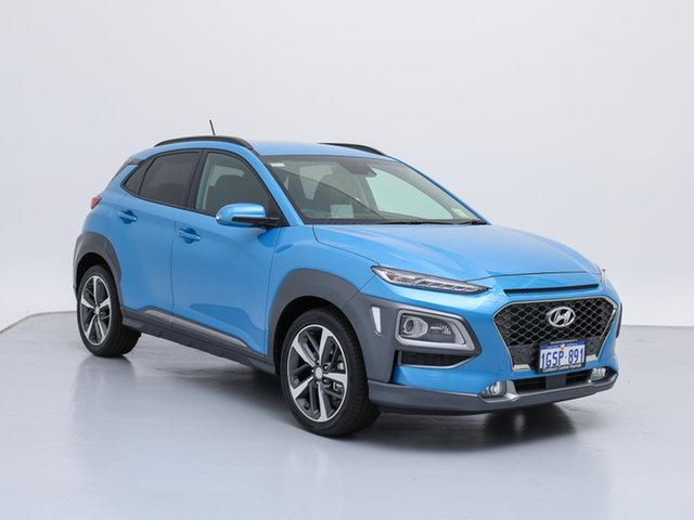 Used Hyundai Kona OS Highlander (AWD), 2018 Hyundai Kona OS Highlander (AWD) Blue Lagoon 7 Speed Auto Dual Clutch Wagon