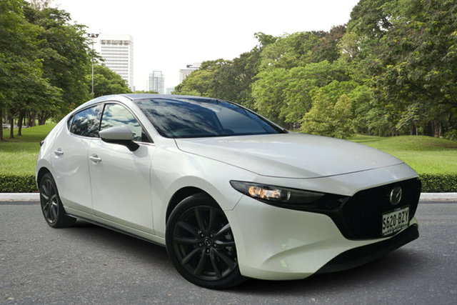 Demo Mazda 3 BN5438 SP25 SKYACTIV-Drive GT, 2019 Mazda 3 BN5438 SP25 SKYACTIV-Drive GT White Pearl 6 Speed Sports Automatic Hatchback