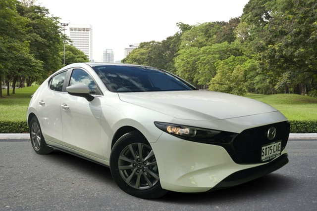 Demo Mazda 3 BP2H7A G20 SKYACTIV-Drive Pure, 2019 Mazda 3 BP2H7A G20 SKYACTIV-Drive Pure White Pearl 6 Speed Sports Automatic Hatchback