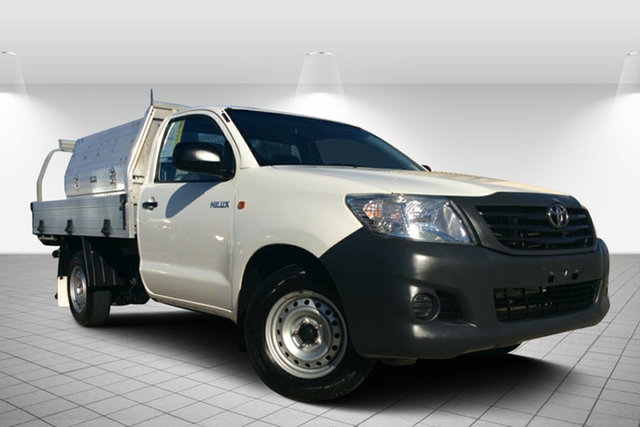 Used Toyota Hilux TGN16R MY14 Workmate 4x2, 2013 Toyota Hilux TGN16R MY14 Workmate 4x2 White 5 Speed Manual Cab Chassis