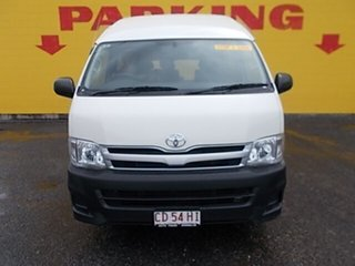 2013 Toyota HiAce TRH223R MY12 Commuter High Roof Super LWB White 5 Speed Manual Bus.