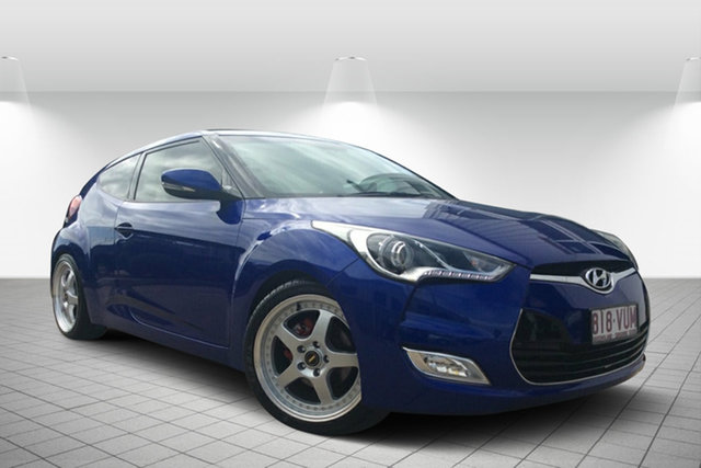Used Hyundai Veloster FS + Coupe, 2012 Hyundai Veloster FS + Coupe Blue 6 Speed Manual Hatchback