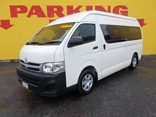 2013 Toyota HiAce TRH223R MY12 Commuter High Roof Super LWB White 5 Speed Manual Bus