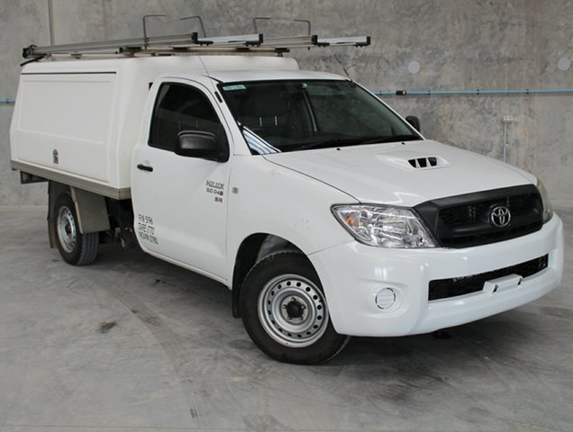 Used Toyota Hilux KUN16R MY10 SR 4x2, 2011 Toyota Hilux KUN16R MY10 SR 4x2 White 5 Speed Manual Cab Chassis
