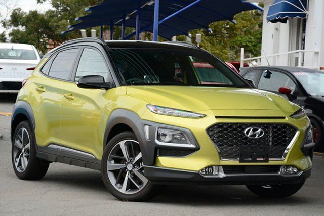 New Hyundai Kona OS.2 MY19 Highlander 2WD, 2019 Hyundai Kona OS.2 MY19 Highlander 2WD Acid Yellow & Black Roof 6 Speed Sports Automatic Wagon