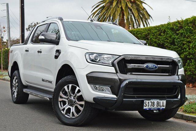 Used Ford Ranger PX MkII Wildtrak Double Cab, 2016 Ford Ranger PX MkII Wildtrak Double Cab Cool White 6 Speed Manual Utility