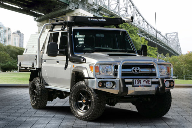 Used Toyota Landcruiser VDJ79R GXL Double Cab, 2015 Toyota Landcruiser VDJ79R GXL Double Cab Silver 5 Speed Manual Cab Chassis