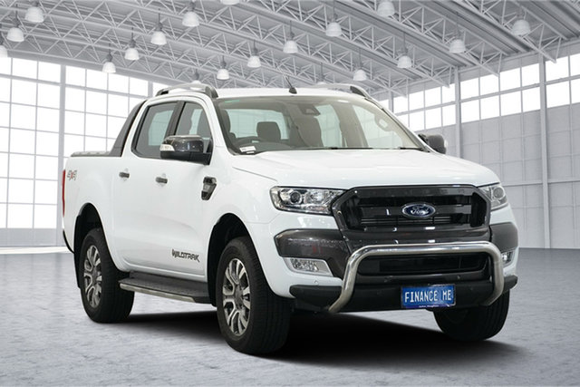 Used Ford Ranger PX MkII 2018.00MY Wildtrak Double Cab, 2017 Ford Ranger PX MkII 2018.00MY Wildtrak Double Cab Frozen White 6 Speed Sports Automatic Utility