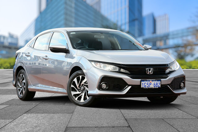 Demo Honda Civic 10th Gen MY18 VTi-S, 2019 Honda Civic 10th Gen MY18 VTi-S Lunar Silver 1 Speed Constant Variable Hatchback