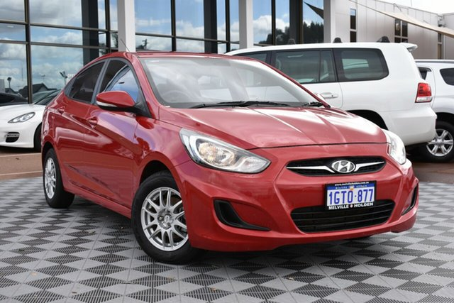 Used Hyundai Accent RB2 Active, 2014 Hyundai Accent RB2 Active Red/Black 6 Speed Manual Sedan