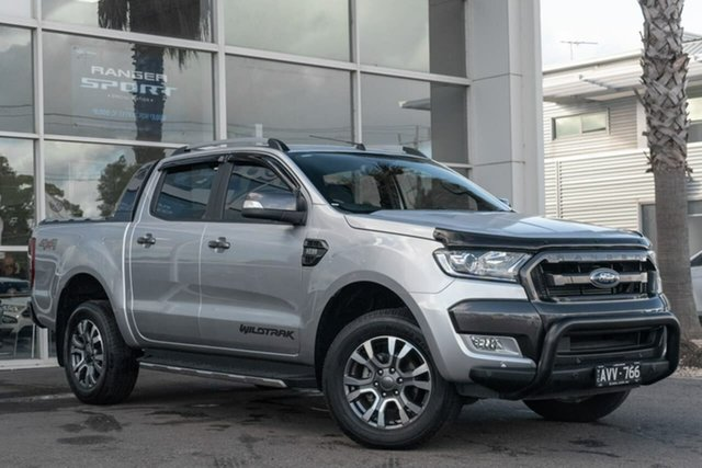 Used Ford Ranger PX MkII 2018.00MY Wildtrak Double Cab, 2018 Ford Ranger PX MkII 2018.00MY Wildtrak Double Cab Silver 6 Speed Sports Automatic Utility