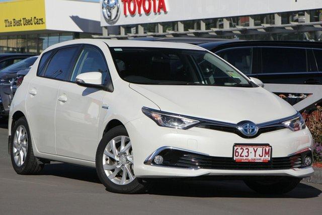 Used Toyota Corolla ZWE186R Hybrid E-CVT, 2018 Toyota Corolla ZWE186R Hybrid E-CVT Crystal Pearl Constant Variable Hatchback Hybrid