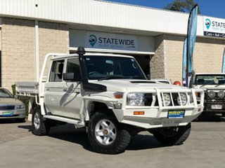 2014 Toyota Landcruiser VDJ79R MY13 GXL Double Cab White 5 Speed Manual Cab Chassis.