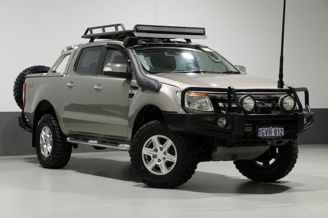 Used Ford Ranger PX XLT 3.2 (4x4), 2012 Ford Ranger PX XLT 3.2 (4x4) Gold 6 Speed Automatic Dual Cab Utility