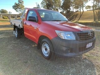 2014 Toyota Hilux TGN16R MY14 Workmate Velocity Red 5 Speed Manual Cab Chassis.