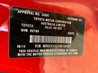2014 Toyota Hilux TGN16R MY14 Workmate Velocity Red 5 Speed Manual Cab Chassis