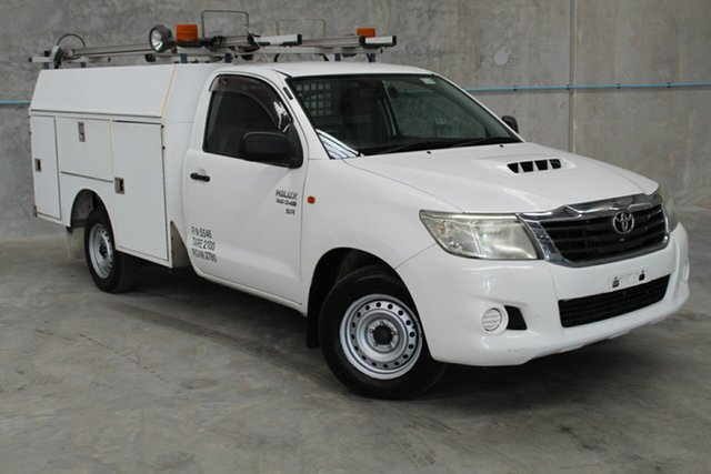 Used Toyota Hilux KUN16R MY12 SR 4x2, 2012 Toyota Hilux KUN16R MY12 SR 4x2 White 5 Speed Manual Cab Chassis