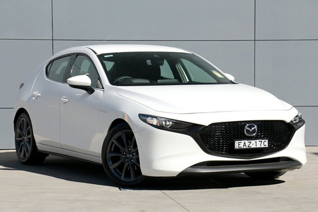 Demo Mazda 3 BP2HLA G25 SKYACTIV-Drive GT, 2019 Mazda 3 BP2HLA G25 SKYACTIV-Drive GT Snowflake White 6 Speed Sports Automatic Hatchback