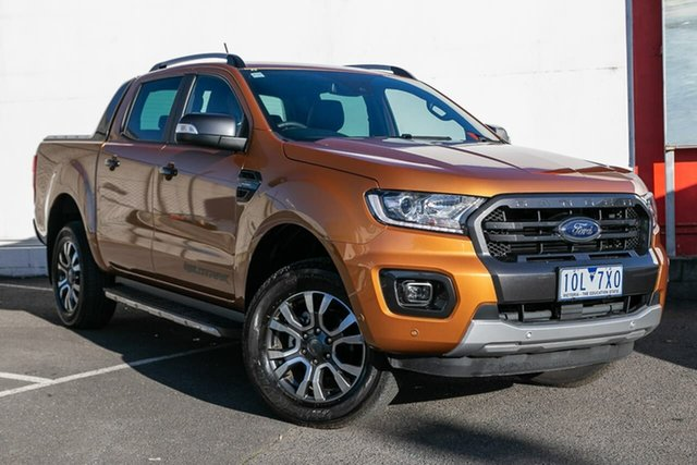 Used Ford Ranger PX MkIII 2019.00MY Wildtrak Pick-up Double Cab, 2019 Ford Ranger PX MkIII 2019.00MY Wildtrak Pick-up Double Cab Orange 10 Speed Sports Automatic