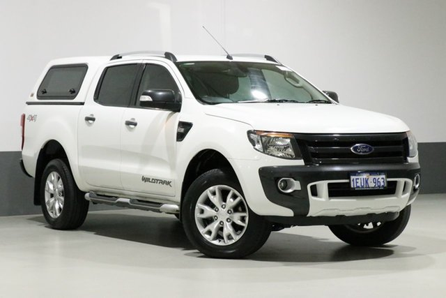 Used Ford Ranger PX Wildtrak 3.2 (4x4), 2015 Ford Ranger PX Wildtrak 3.2 (4x4) Cool White 6 Speed Automatic Crew Cab Utility