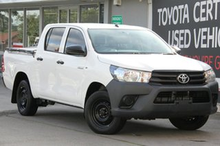 2015 Toyota Hilux TGN121R Workmate Double Cab 4x2 Glacier White 6 Speed Sports Automatic Utility.