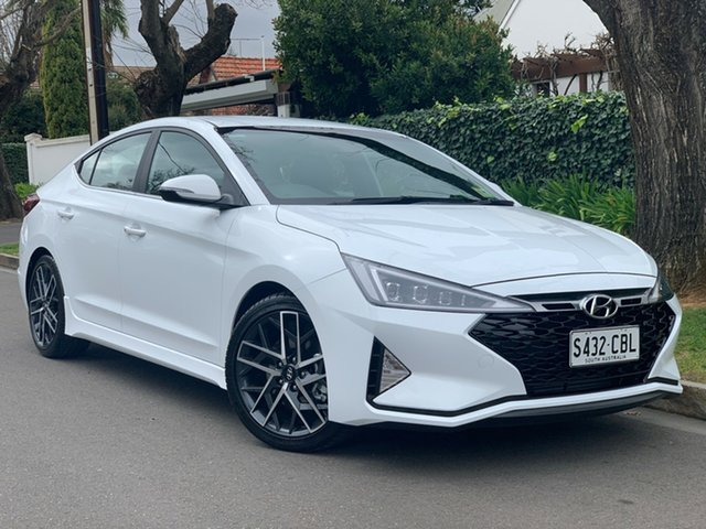 Demo Hyundai Elantra AD.2 MY19 Sport DCT, 2019 Hyundai Elantra AD.2 MY19 Sport DCT Polar White 7 Speed Sports Automatic Dual Clutch Sedan