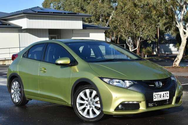 Used Honda Civic 9th Gen VTi-S, 2012 Honda Civic 9th Gen VTi-S Lime Green 5 Speed Sports Automatic Hatchback