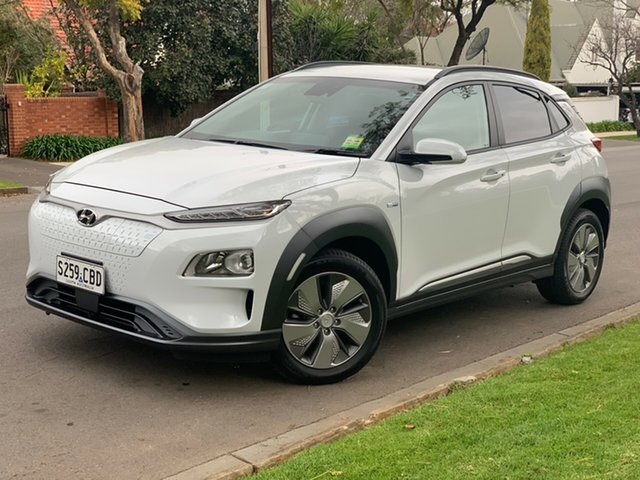 Demo Hyundai Kona OS.3 MY19 electric Elite, 2019 Hyundai Kona OS.3 MY19 electric Elite Chalk White 1 Speed Reduction Gear Wagon
