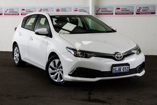 Used Toyota Corolla ZRE182R MY17 Ascent, 2017 Toyota Corolla ZRE182R MY17 Ascent Glacier White 7 Speed CVT Auto Sequential Hatchback