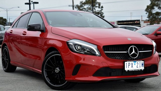 Used Mercedes-Benz A180 W176 808+058MY D-CT, 2018 Mercedes-Benz A180 W176 808+058MY D-CT Red/Black 7 Speed Sports Automatic Dual Clutch Hatchback