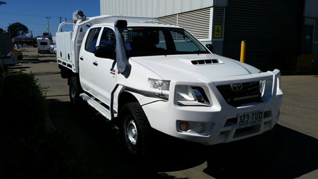 Used Toyota Hilux KUN26R MY14 SR Double Cab, 2013 Toyota Hilux KUN26R MY14 SR Double Cab Glacier 5 Speed Manual Cab Chassis