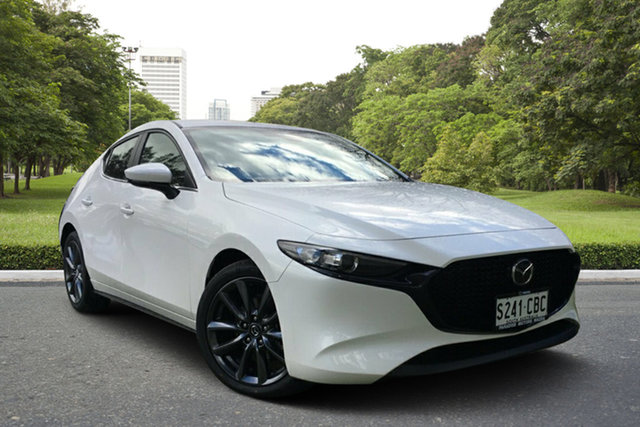 Demo Mazda 3 BP2HLA G25 SKYACTIV-Drive Evolve, 2019 Mazda 3 BP2HLA G25 SKYACTIV-Drive Evolve White Pearl 6 Speed Sports Automatic Hatchback