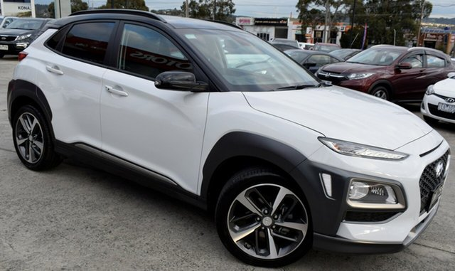Used Hyundai Kona OS.2 MY19 Highlander 2WD, 2018 Hyundai Kona OS.2 MY19 Highlander 2WD Chalk White & Black Roof 6 Speed Sports Automatic Wagon