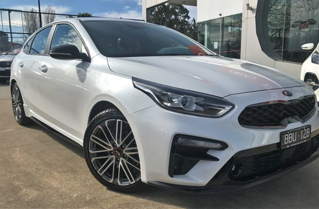 Demo Kia Cerato BD MY19 GT DCT, 2019 Kia Cerato BD MY19 GT DCT Snow White Pearl 7 Speed Sports Automatic Dual Clutch Hatchback