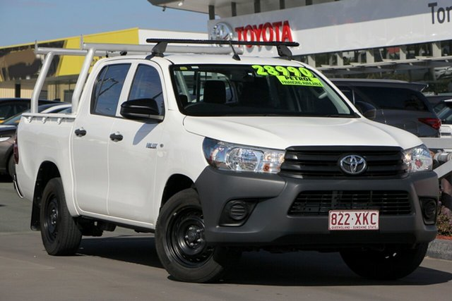 Used Toyota Hilux TGN121R Workmate Double Cab 4x2, 2017 Toyota Hilux TGN121R Workmate Double Cab 4x2 Glacier White 6 Speed Sports Automatic Utility