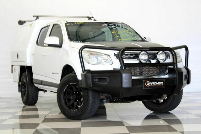 Used Holden Colorado RG MY15 LS (4x4), 2015 Holden Colorado RG MY15 LS (4x4) White 6 Speed Manual Crew Cab Chassis