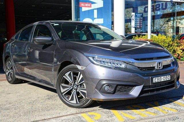 Demo Honda Civic 10th Gen MY18 VTi-LX, 2018 Honda Civic 10th Gen MY18 VTi-LX Modern Steel 1 Speed Constant Variable Sedan