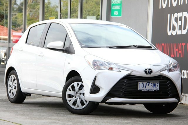 Used Toyota Yaris NCP130R Ascent, 2019 Toyota Yaris NCP130R Ascent Glacier White 4 Speed Automatic Hatchback