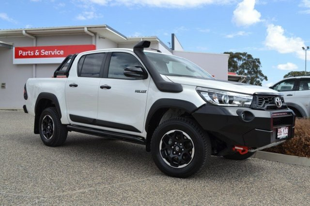 Demo Toyota Hilux GUN126R MY19 Rugged X (4x4), 2018 Toyota Hilux GUN126R MY19 Rugged X (4x4) Crystal Pearl 6 Speed Manual Double Cab Pickup